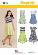 8065 Simplicity Pattern: Girls' Plus Dress with Length Variations